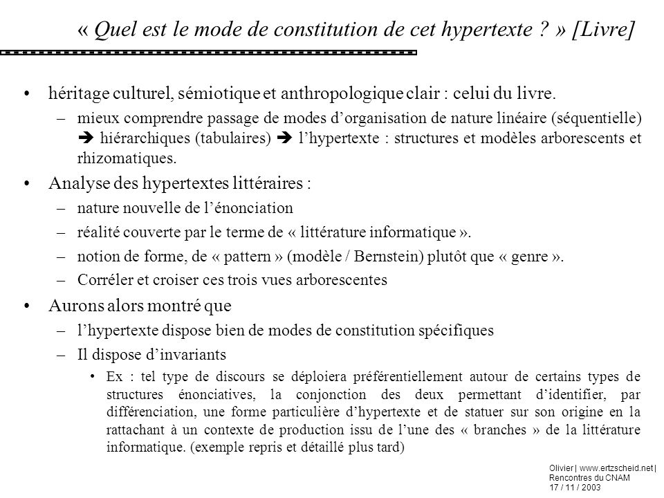 « Quel est le mode de constitution de cet hypertexte » [Livre]